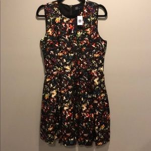 Black Dress with Watercolor Floral Print, NWT!